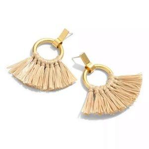 New Madewell Raffia Tassel Hoop Earrings Fringe